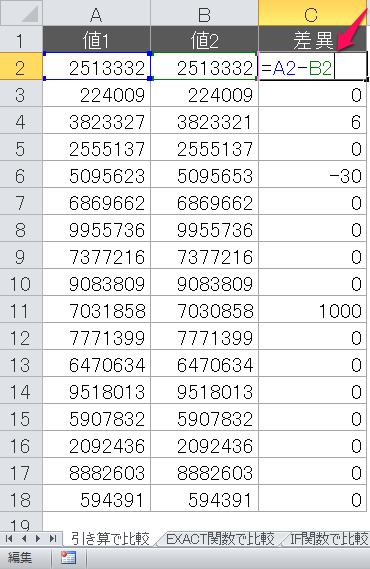 引き算の例