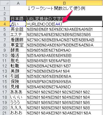 ワークシート関数で日本語をURL変換